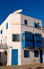 White and blue area of Sidi Bou Said in Tunis Tunisia in Northern Africa as this is the tourist shopping area
