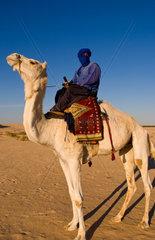 Local Bedouin man on camel ride in Douz in Sahara Desert in Tunisia Africa