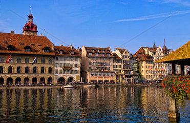 Famous Kapelbrucke Bridge called Chapel Bridge at lake in Lucerne Switzerland Luzern