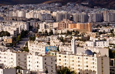 White city of Tunis in Tunisia in Northern Africa city scape panoramic from afar