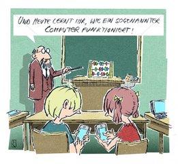 Cartoon Kinder mit Computer im Schulunterricht