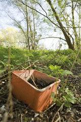 Abandoned bucket outdoors