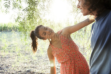 Young couple together outdoors