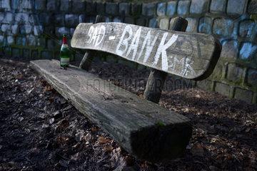 Berlin  Deutschland  Holzbank im Berliner Grunewald mit der Aufschrift: Bad Bank