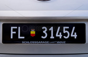 Auto lisense plate in small remote country of Leichtenstein