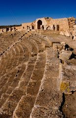 Historical 2nd Century Roman Theater ruins in Dougga in Tunisia Northern Africa  most preserved in Africa in 168 AD