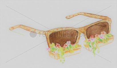 Sonnenbrille Blumenkaesten