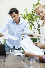 Business team reviewing documents