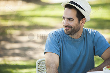 Man relaxing outdoors