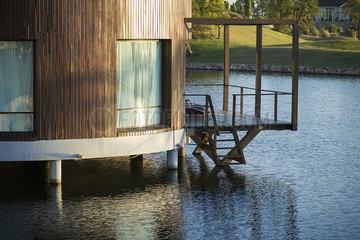 Modern lakehouse on water