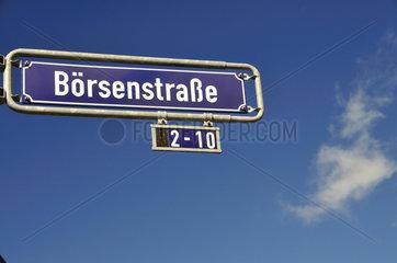 Strassenschild Boersenstrasse im Frankfurter Bankenviertel