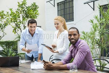 Business team at work  portrait