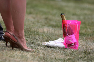 Epsom  Grossbritannien  Champagnerflasche steht in einer Tragetasche auf dem Boden