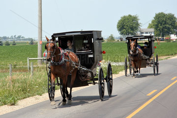 Topeka  USA  Pferdefuhrwerke der Amish People fahren auf der Landstrasse
