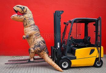 Dino auf Gabelstapler