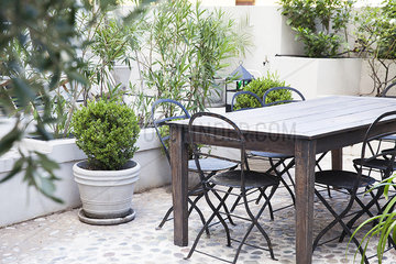 Table in hotel courtyard
