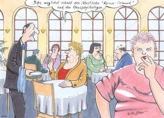dicke Frau Bestellung Restaurant