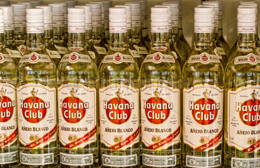 Close up of bottles of famous Havana Club Rum is store abstract in Cienfuegos Cuba