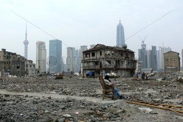 Abgerissenes Stadtviertel in Shanghai