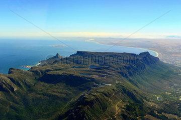 Luftbild des Tafelberg in Kapstadt