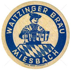 alter Bierdeckel aus Bayern  1959