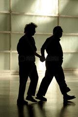 Silhouette eines alten Ehepaares Hand in Hand