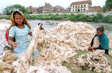 Baeuerinnen sortieren Baumwolle in Kathmandu  Nepal