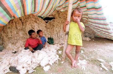 Kinder der Bauern in einem Zelt mit Baumwolle in Kathmandu  Nepal