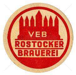 alter DDR Bierdeckel  VEB Rostocker Brauerei  1970