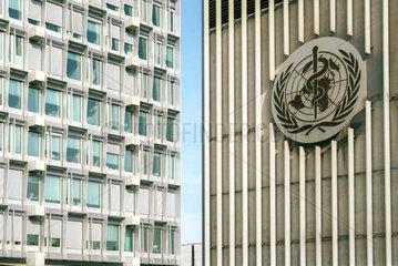 Emblem der Weltgesundheitsorganisation (WHO) in Genf
