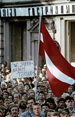 fight for independence 1991 / mass demonstrations  Riga  Latvia