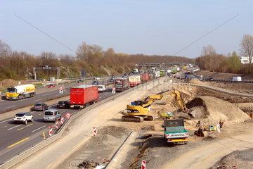 Baustelle im Autobahnkreuz Koeln-West