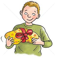 Junge mit Geschenk