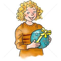 Maedchen mit Geschenk