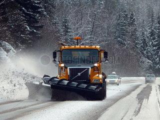 Ein Schneeraeumfahrzeug in Portland/Oregon