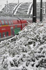 Regionalbahn im eingeschneiten Koelner Hauptbahnhof