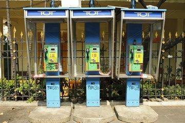 Telefonzellen - oeffentliche Fernsprecher / Bangkok / Thailand / SUEDOSTASIE
