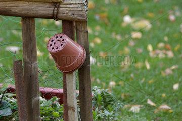 Blumentopf aus Plastik auf einem Holzstab