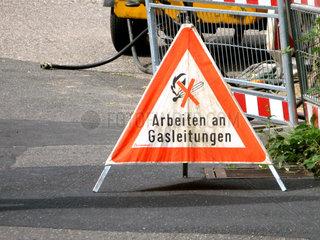 Warnschild Gasleitungen