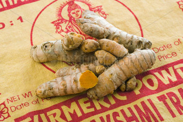 Heap of turmeric roots