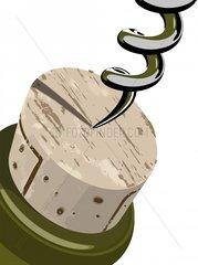 Kork Stoepsel Korkenzieher