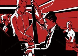Der Pianist spielt am Klavier