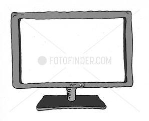 Monitor Fernseher mit weissem Bildschirm