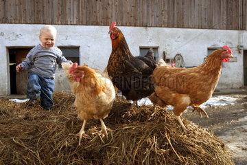 Kleinkind auf dem Bauernhof