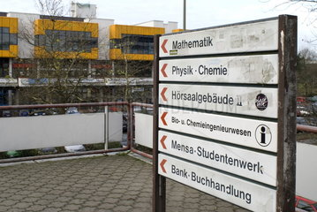 Wegweiser auf dem Gelaende der TU Dortmund