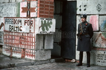 fight for independence 1991 / parlamental barricade  Riga  Latvia