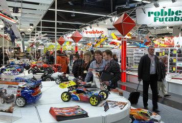 Nuernberg - Messestand mit Modellautos auf der Spielwarenmesse