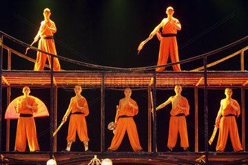 Peking  Schauspieler bei einer Theaterauffuehrung
