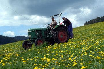 Alter Traktor faehrt im Schwarzwald