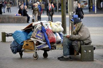Obdachoser in der Innenstadt von Duisburg